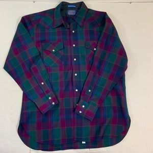 Pendleton Shirts - Pendleton USA Wool Pearl Snap Shirt Plaid L